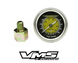 Vms 0 100 Psi Fuel Pressure Gauge Yellow Carbon For 86 95 Ford Mustang 5 0l
