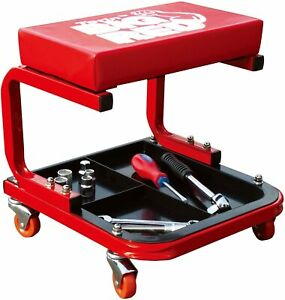 Red Padded Shop Seat Garage Stool Creeper Rolling Work Chair Mechanic Tool Tray