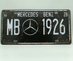 License Plate With Mercedes Benz Logo Black