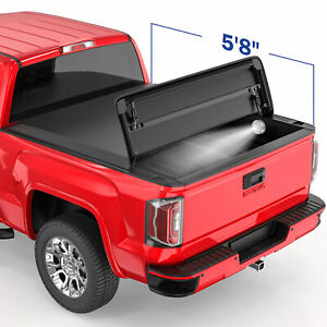 3 Fold 5 8ft Soft Truck Bed Tonneau Cover For 04 07 Chevy Silverado Gmc Sierra