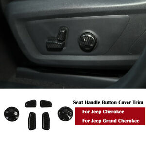 Carbon Fiber Seat Handle Button Cover Trim For Jeep Cherokee Grand Cherokee 6x