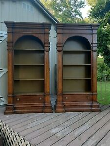 2 Vtg Drexel 1968 Et Cetera French Style Aged Walnut Bookcases Display Shelves