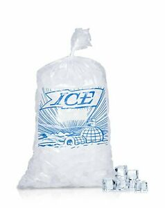 1000 Clear Plastic Ice Bags Store Machine Commercial Printed Metallocene 8x3x20