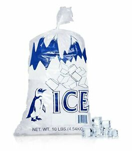 1000 10 Lbs 1 7 Mil Plastic Ice Bags Store Machine Commercial Printed Bag