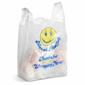 500 Mini Jumbo Plastic Grocery Shopping Carry Out Thank You Bag Smiley Face