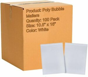 100 White Poly Bubble Mailers 10 5x16 Airjackets Padded Envelopes Large