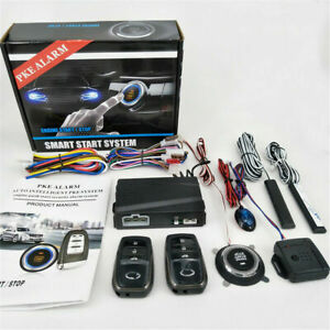 New Car Alarm Security System Keyless Entry Lcd Remote Start Smart Key Button