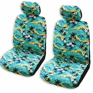 Made In Hawaii Green 100 Sunsets Hawaiian Separate Headrest Car Seat Cover Se