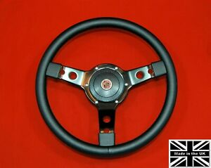 13 Leather Steering Wheel black Spokes Hub Fits Mgb Gt 1976 And Later