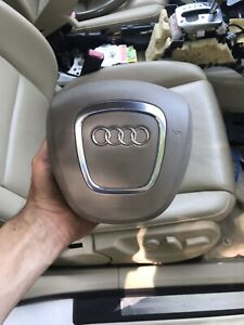 Audi Spoke Leather Steering Wheel Beige Air Horn Button 05 08 Oem Tan A4 S4 Bag