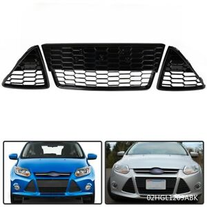 3pcs Honeycomb Front Bumper Lower Grille Grills For Ford Focus 2012 2013 2014