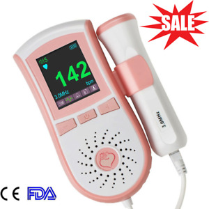 Fetal Doppler Prenatal Baby Heart Monitor With Free Gel lcd Color Display ce fda