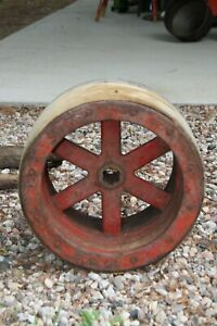Large 13 Antique Industrial Manufacturing Wooden Wheel With Metal Spokes