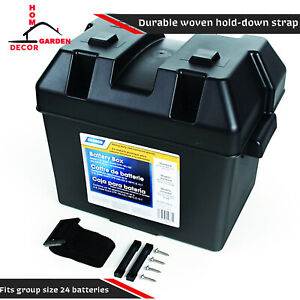Battery Box 24 Pc Heavy Duty Standard Batteries Holder Durable Straps Organizer