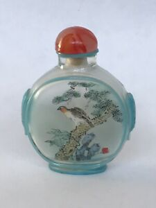 Vintage Chinese Inside Glass Painted Snuff Bottle With Landscape And Bird