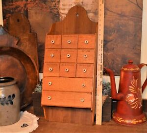 Antique Primitive 11 Labeled Drawer Oak Wood Wall Spice Box Cabinet 25 X 10