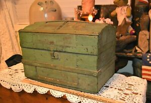 Antique Domed Doll Trunk Chest Old Green Paint Nice Display Pop Beals Selkirk