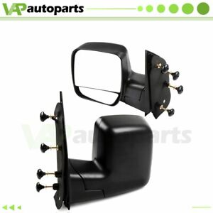 Right left Side View Black Manual Mirrors Fits 03 14 Ford Econoline