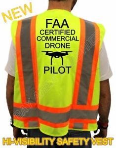 New Faa Certified Drone Pilot High Visibility Safety Vest yellow black Design