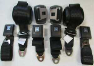 Black Chevelle Front And Rear Retractable Seat Belt Set 1964 72 Gm A Body Black
