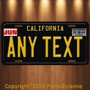 Black California Any Text Personalized Custom Aluminum License Plate Tag