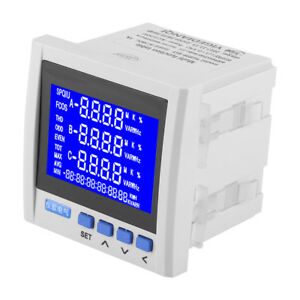 3 phase Lcd Digital Multifunction Power Meter Energy Monitor Rs485 V A Hz Q P X1