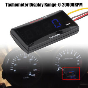 Motorcycle Blue Backlight Led Digital Tachometer 20000rpm Fit To Honda Suzuki