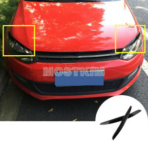Black Headlight Eyelid Eyebrow Cover Trim For Volkswagen Vw Polo Mk5 2011 2017
