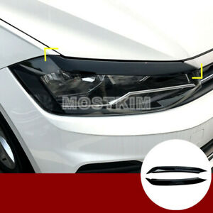 Black Headlight Eyelid Eyebrow Cover Trim For Volkswagen Vw Polo Mk6 2018 2020