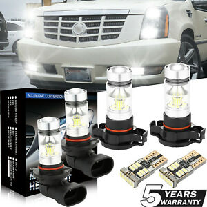 For Cadillac Escalade 07 14 6pcs White Led Fog Driving Drl Light Bulbs Kit Lamp