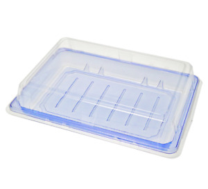 Take Out Sushi Container With Lid Blue Clear Pet Salad Fruit Cake Tray 7 25 X 5
