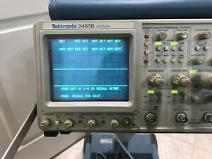 Tektronix 2465b 400mhz Analog Oscilloscope W Stand Manual Cords