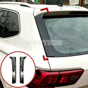 Black Rear Window Spoiler Side Wing Trim Cover For Vw Tiguan Mk2 2017 2020