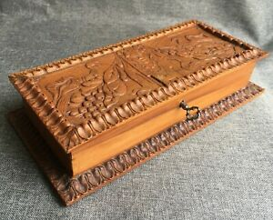 Big Antique French Art Nouveau Wood Sewing Box Early 1900 S Woodwork