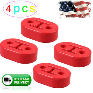 4pcs Rubber Exhaust Tail Pipe Mount Holder Bracket Hanger Insulator 2 Holes 11mm