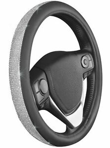 Bling Bling Leather Steering Wheel Cover W 9 Rows Crystals Women Universal Fit
