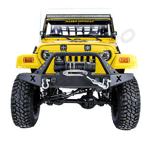 X Rock Crawler Front Bumper Winch Plate 2x Led Light For 97 06 Jeep Wrangler Tj