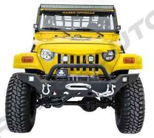 Full Size Hd Front Bumper winch Plate 2x Led Light For 97 06 Jeep Wrangler Tj