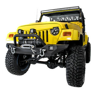 Rock Crawler Front Bumper winch Plate 2x Led Light For 97 06 Jeep Wrangler Tj