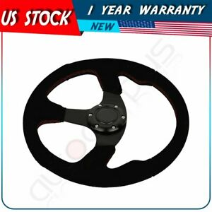 350mm Momo Dished Black Stitching Suede Sport Steering Wheel W Horn Button