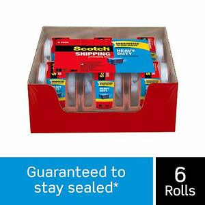 Scotch Heavy Duty Shipping Packaging Tape 6 Rolls With Dispenser Clear