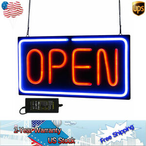 Neon Open Sign Business Sign 24x12 Inch Led Light 30w Horizontal Decorations 12v