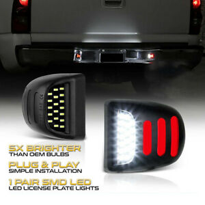 2 White Led License Plate Light Red Drl Tube For Chevy Silverado Gmc Sierra 1500