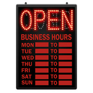 Led Open Closed Sign With Hour 16 625 W X 1 625 D X 23 Inches