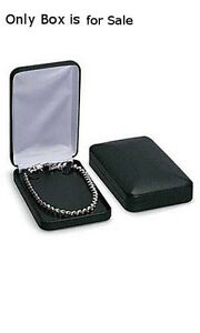 Faux Leather Necklace Box In Black 4 25 X 7 X 1 5 Inches