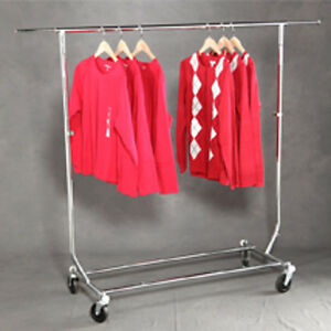 Single Rail Commercial Folding Garment Rack 55 W X 22 D X Up To 65 H Inches