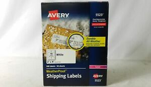 Avery 2 X 4 Weatherproof Shipping Labels 500 Count White 5523
