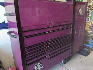 Black Purple Matco Tool Box 2 Bay With Hutch And Cabinet Plus Cover Old School