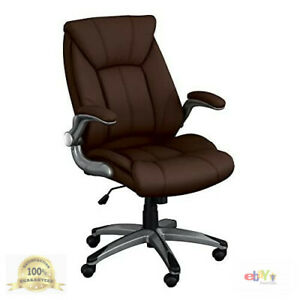 Norwood Commercial Furniture Executive Chair With Flip up Arms Brown Nor oug10