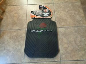 New Nos Rose Harley Davidson Rubber All Weather Floor Mats Pair Car Truck